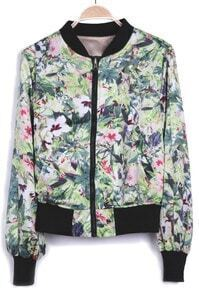 Green Landscape Flowers Print Long Sleeve Chiffon Jacket