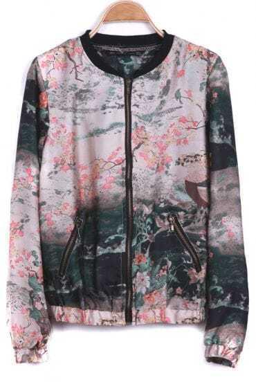 Ink Landscape Print Long Sleeve Chiffon Jacket