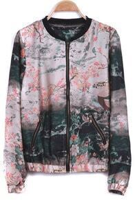 Ink Landscape Print Long Sleeve Chiffon Jacket