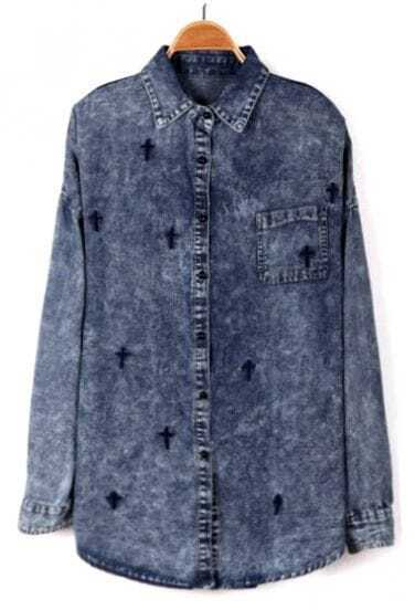 Blue Long Sleeve Cross Embroidery Denim Blouse