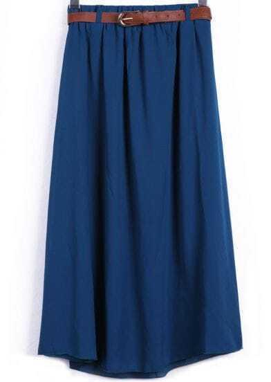 Lake Blue Belt Waist Chiffon Long Skirt