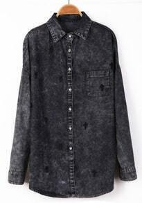 Black Long Sleeve Cross Embroidery Denim Blouse