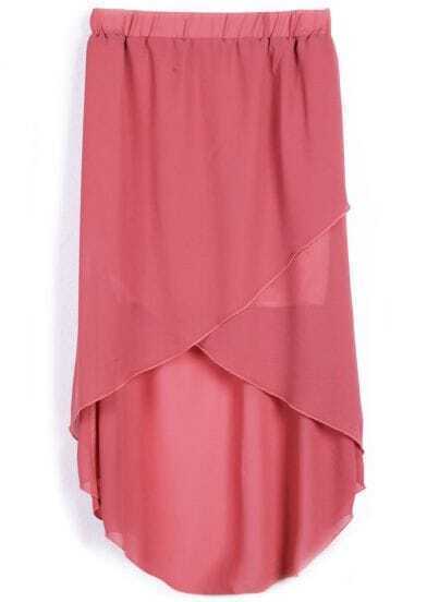 Dark Pink Wrap High-low Chifffon Skirt