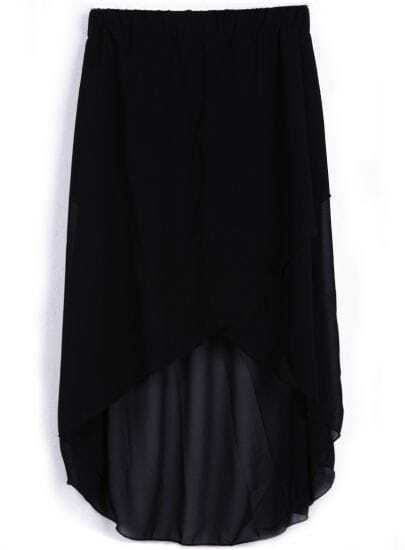 Black Wrap High-low Chifffon Skirt