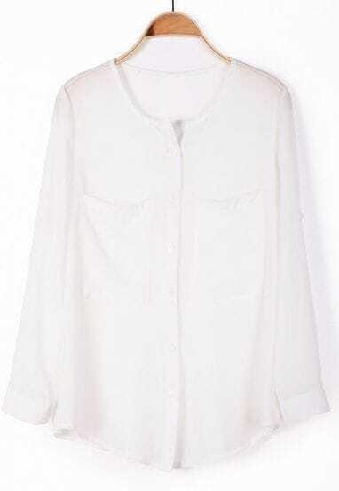 Long White Chiffon Shirt