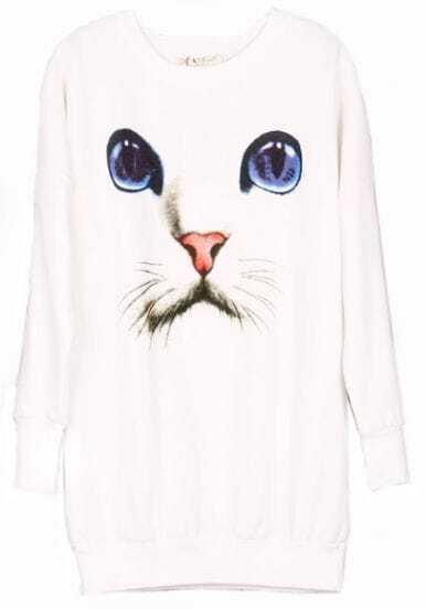 White Long Sleeve Cat Face Print Sweatshirt