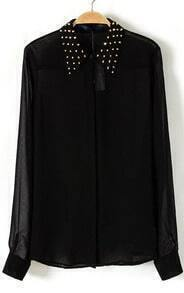 Black Studded Collar Chiffon Sheer Blouse