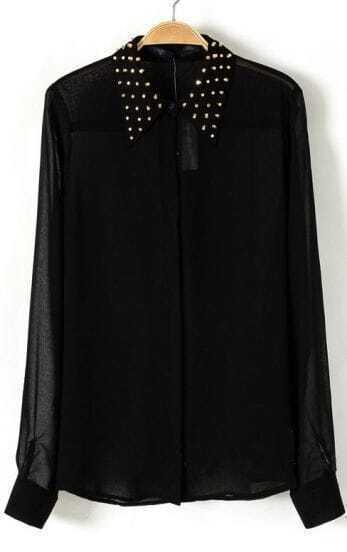 Black Studded Collar Chiffon Sheer Blouse