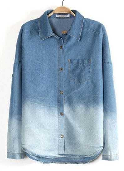 Blue Gradient Lapel Long Sleeve Denim Blouse