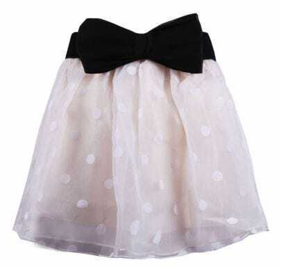 Nude Polka Dot Detachale Bow Layered Lace Skirt