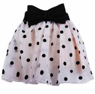 Beige with Black Polka Dot Detachale Bow Layered Lace Skirt
