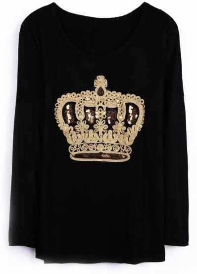 Black Long Sleeve Sequined Embellished Crown T-shirt