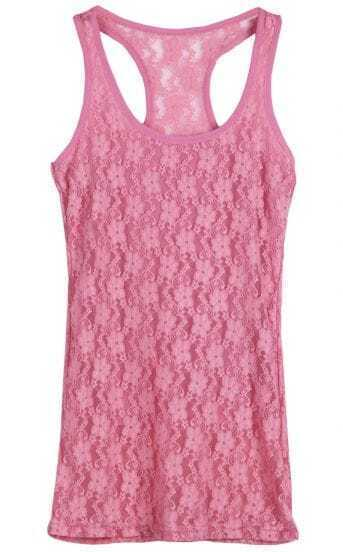 Dark Pink Floral Lace Tank Top