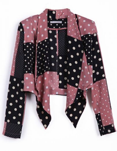 Black and Pink Polka Dot Draped Front Chiffon Suit