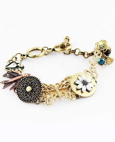 Vintage Gold Butterfly Birds Crystal Bracelet