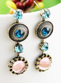 Blue Gemstone Vintage Round Stud Earrings