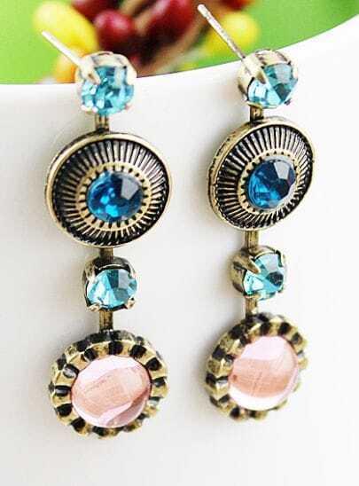 Blue Gemstone Vintage Round Stud Earrings