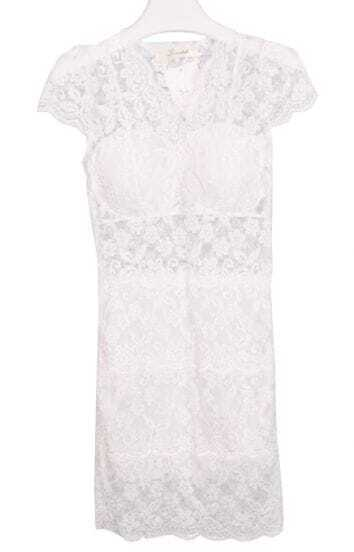 White V Neck Sleeveless Bodycon Lace Dress