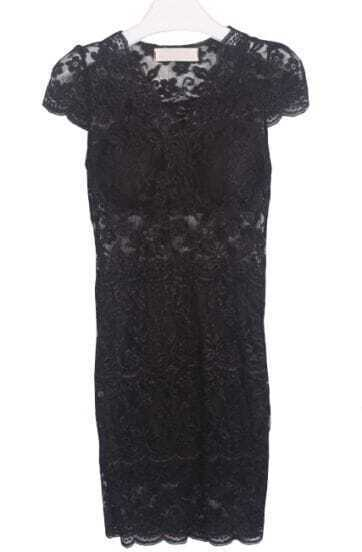 Black V Neck Sleeveless Bodycon Lace Dress