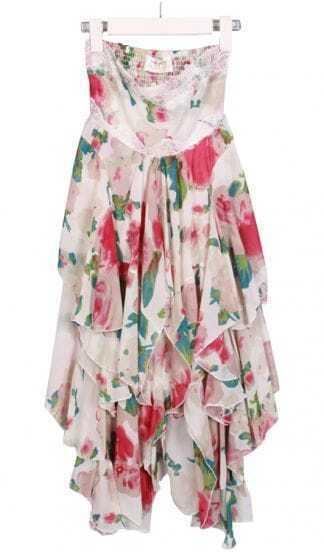 Beige Strapless Asymmetrical Floral Chiffon Dress