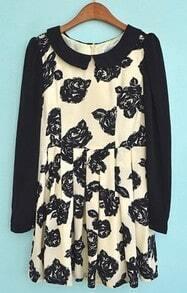 Beige Long Sleeve Rose Print Back Zipper Dress
