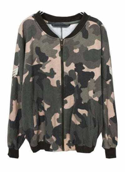 Green Camouflage Batwing Long Sleeve Jacket