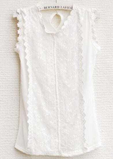 White Slim Mesh Yoke Lace Vest