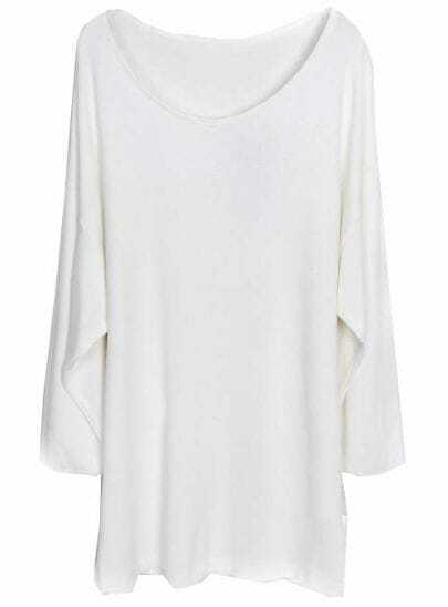 White Long Sleeve Side Split Loose T-Shirt