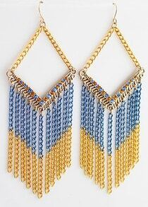 Gold Blue Diamond Chain Tassel Dangle Earrings