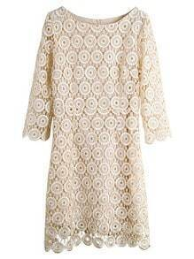Apricot Half Sleeve Hollow Lace Dress