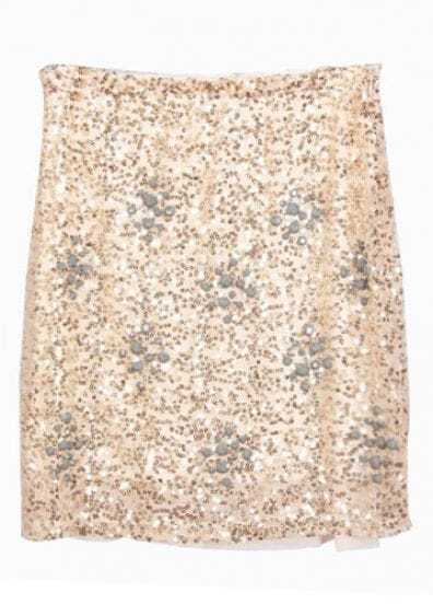 Apricot Beading Sequined Embellished Skirt
