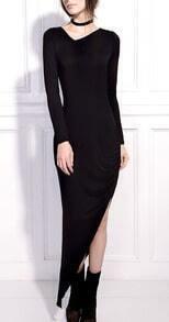 Black V-neck Pleated Split Side Maxi Dress