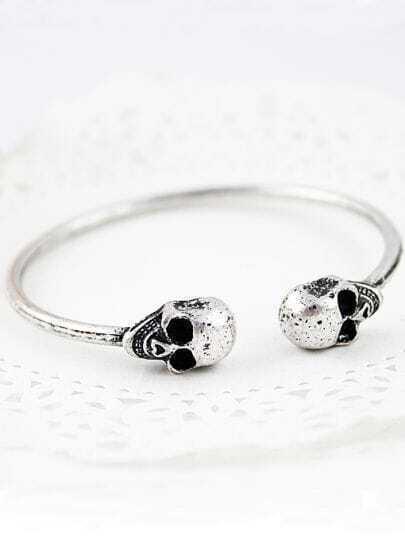 Silver Skull Cuff Bracelet