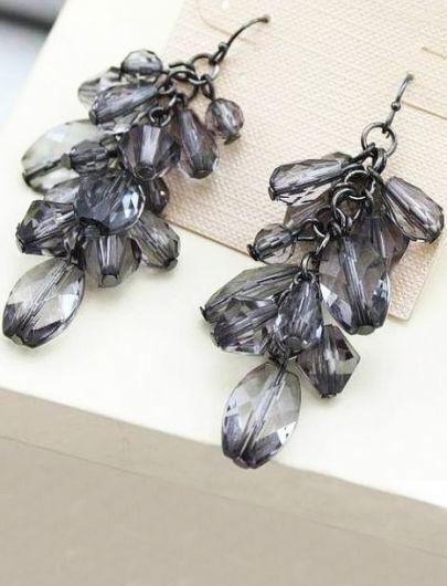 Black Drop Gemstone Tassel Dangle Earrings
