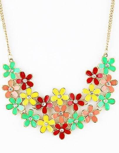 Multi Flowers Crystal Necklace
