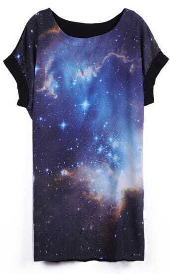 Dark Blue Short Sleeve Galaxy Print Contrast Chiffon T-Shirt