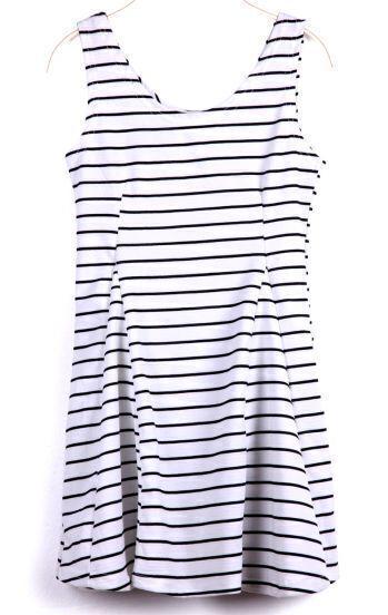 White Scoop Neck Sleeveless Striped Tank Dress