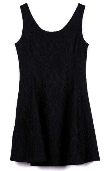Black Scoop Neck Sleeveless Bilayer Lace Tank Dress