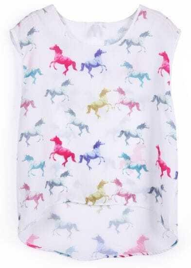 White Sleeveless Multi Horses Print Chiffon Vest