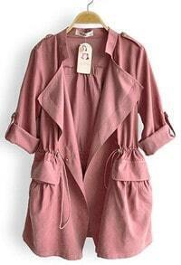 Pink Drape Collar Pockets Long Sleeve Drawstring Outerwear