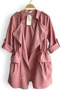 Pink Drape Collar Pockets Long Sleeve Drawstring Outerwear