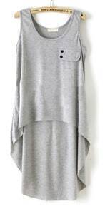 Grey Simple Styel High Low Baisc Top