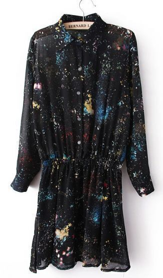 Black Long Sleeve Galaxy Print Sheer Chiffon Dress