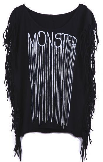 Black Sleeveless Side Tassel MONSTER Print T-Shirt