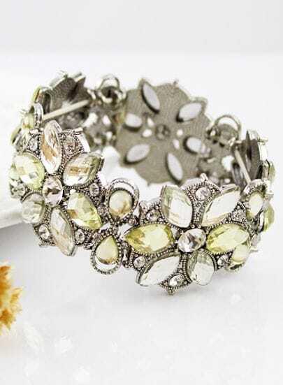 Silver Crystal Flowers Bracelet