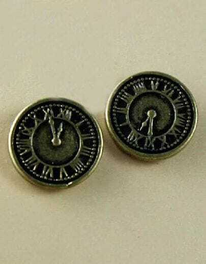 Vintage Gold Clock Stud Earrings