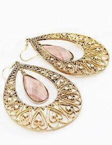 Gold Crystal Hollow Heart Drop Dangle Earrings