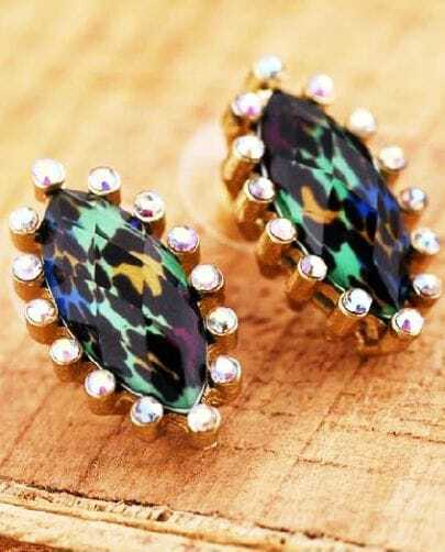 Gold Green Crystal Stud Earrings