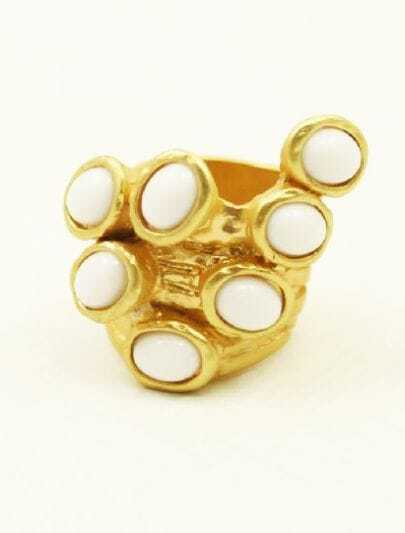 White Gemstones Gold Ring