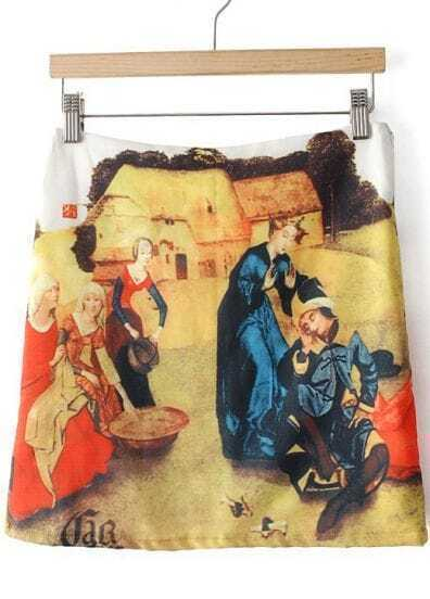 Yellow Vintage Oil Painting Print Skirt